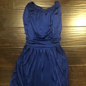 Silky blue cocktail dress